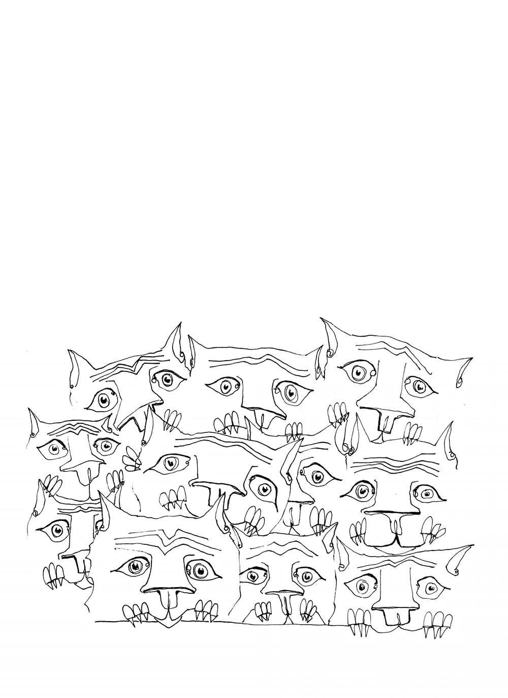 "worried cats , 2017  ink on paper, 9"" x 12"""