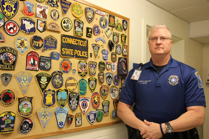 Officer Bradley Bopp in the Public Saftey Office.                                                                                                             Photo by Dorah Labatte