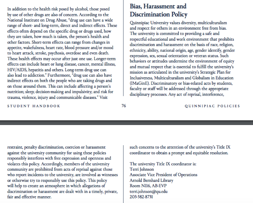 The Bias, Harassment and Discrimination Policy in the Undergraduate Student Handbook