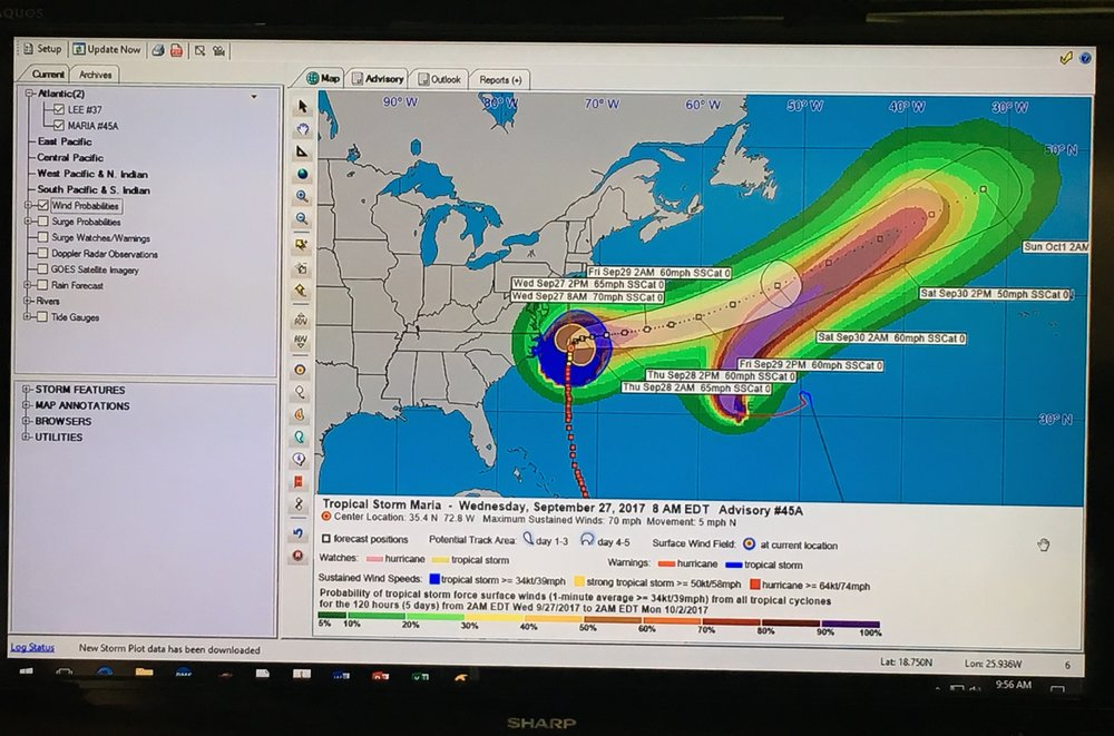 Map of Hurricane Maria on the monitor in the New Haven EOC
