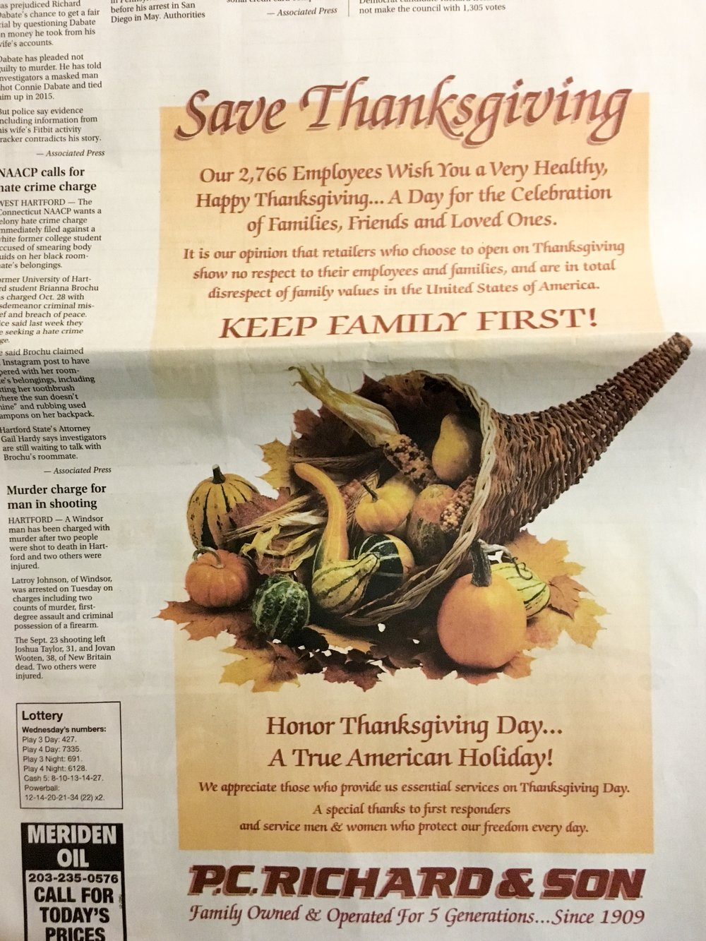 A P.C. Richard & Son advertisement from this past Thanksgiving in the Meriden Record Journal. Photo by Lindsay Pytel.