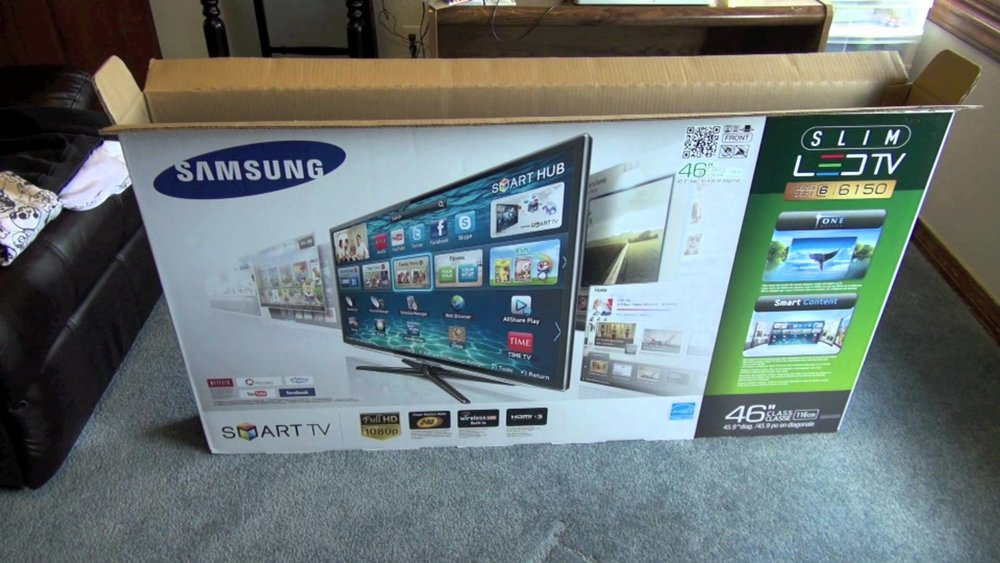 A box opened just enough that a TV can be placed right back in it to be returned.