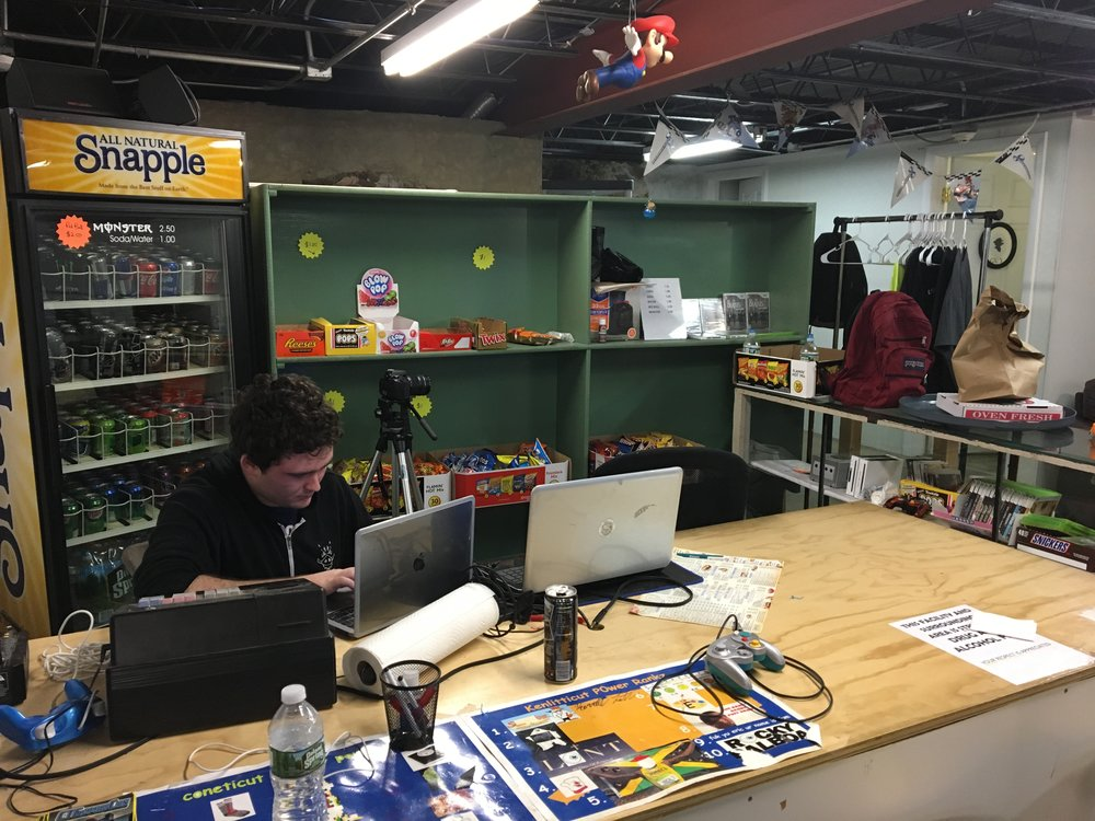 The Hall of Gaming snack bar with Hall of gaming employee and QU student Sean Thomas O'Connor