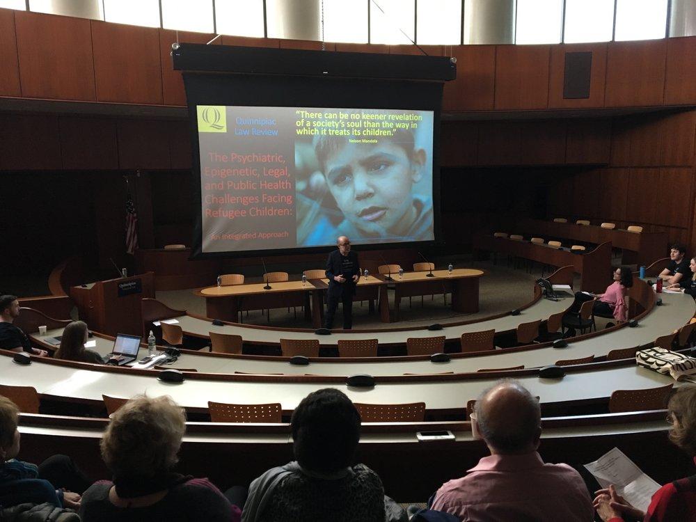 The 2018 Quinnipiac University Law School Symposium at the ceremonial courtroom at Quinnipiac's North Haven Campus.