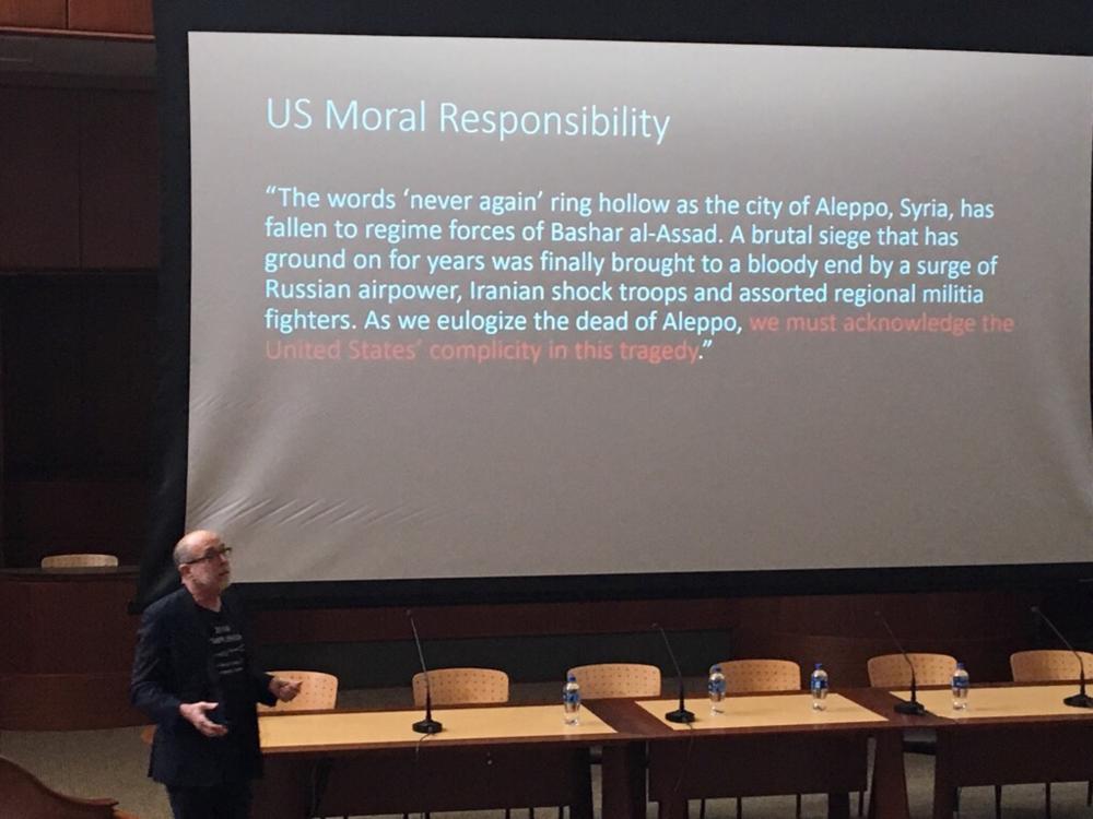 Quinnipiac law and medicine professor W. John Thomas explaining the US's moral responsibilities.