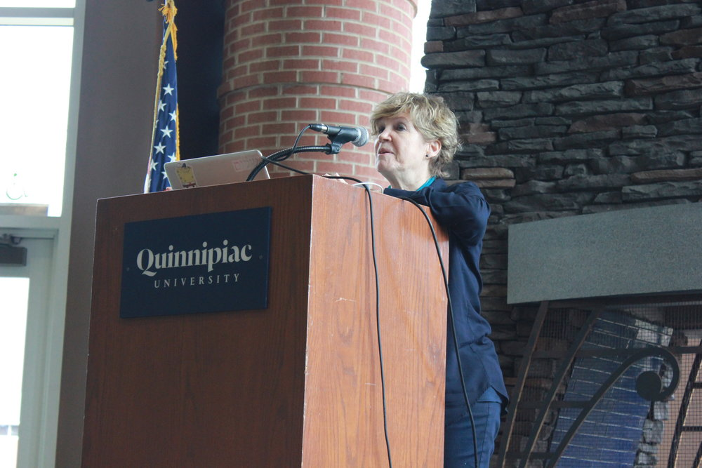 "Quinnipiac philosophy professor Anat Biletzki spoke at the International Women's Day Teach-In,"" which she helped organize."