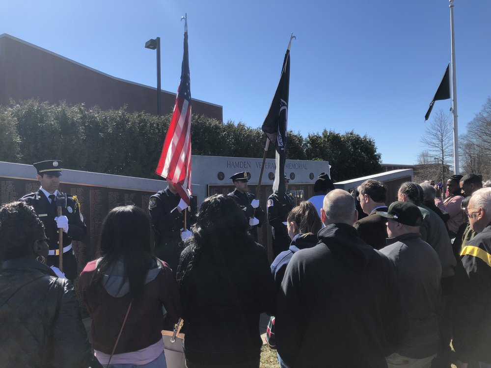 On Saturday March 31,  Hamden unveiled a brass plaque commemorating 151 veterans. The plaque will serve as an addition to the Hamden Veterans' Memorial.
