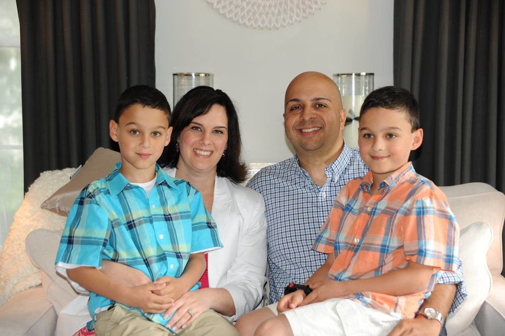 Cabrera with wife Rebecca and their twin boys Gabe and Jorgie.