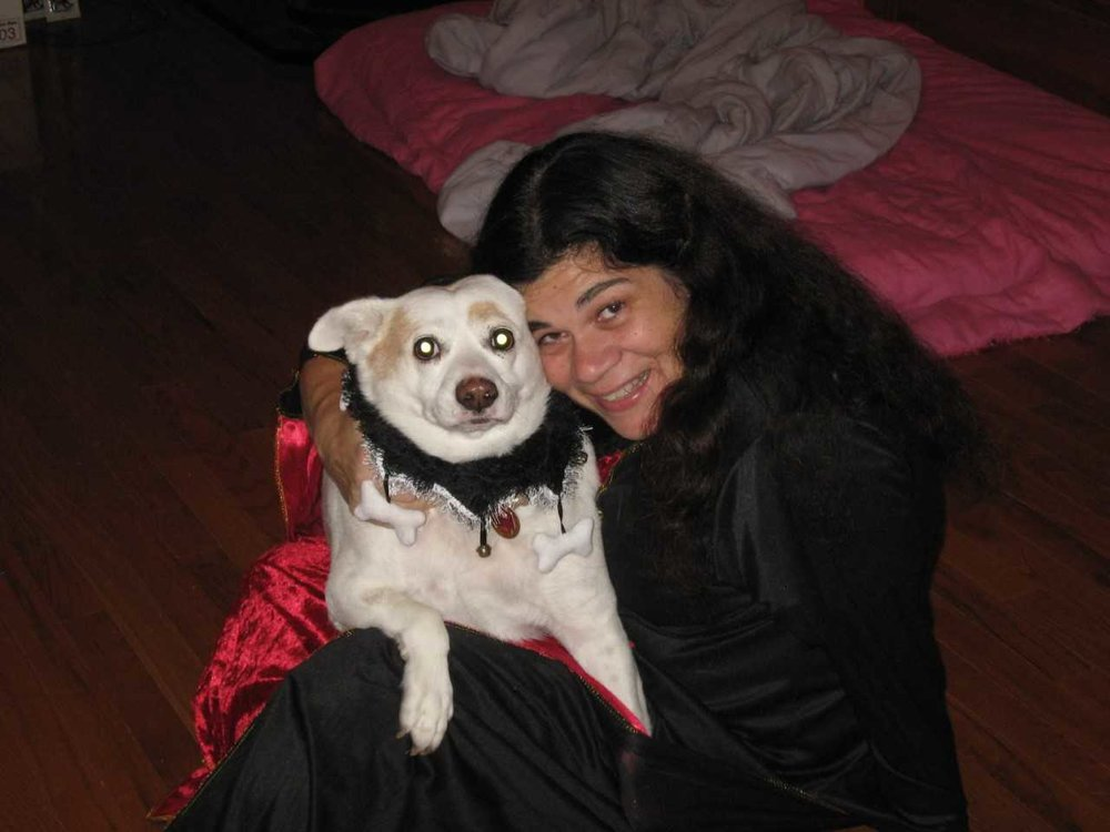 Lyn Johnson and one of her rescue dogs.