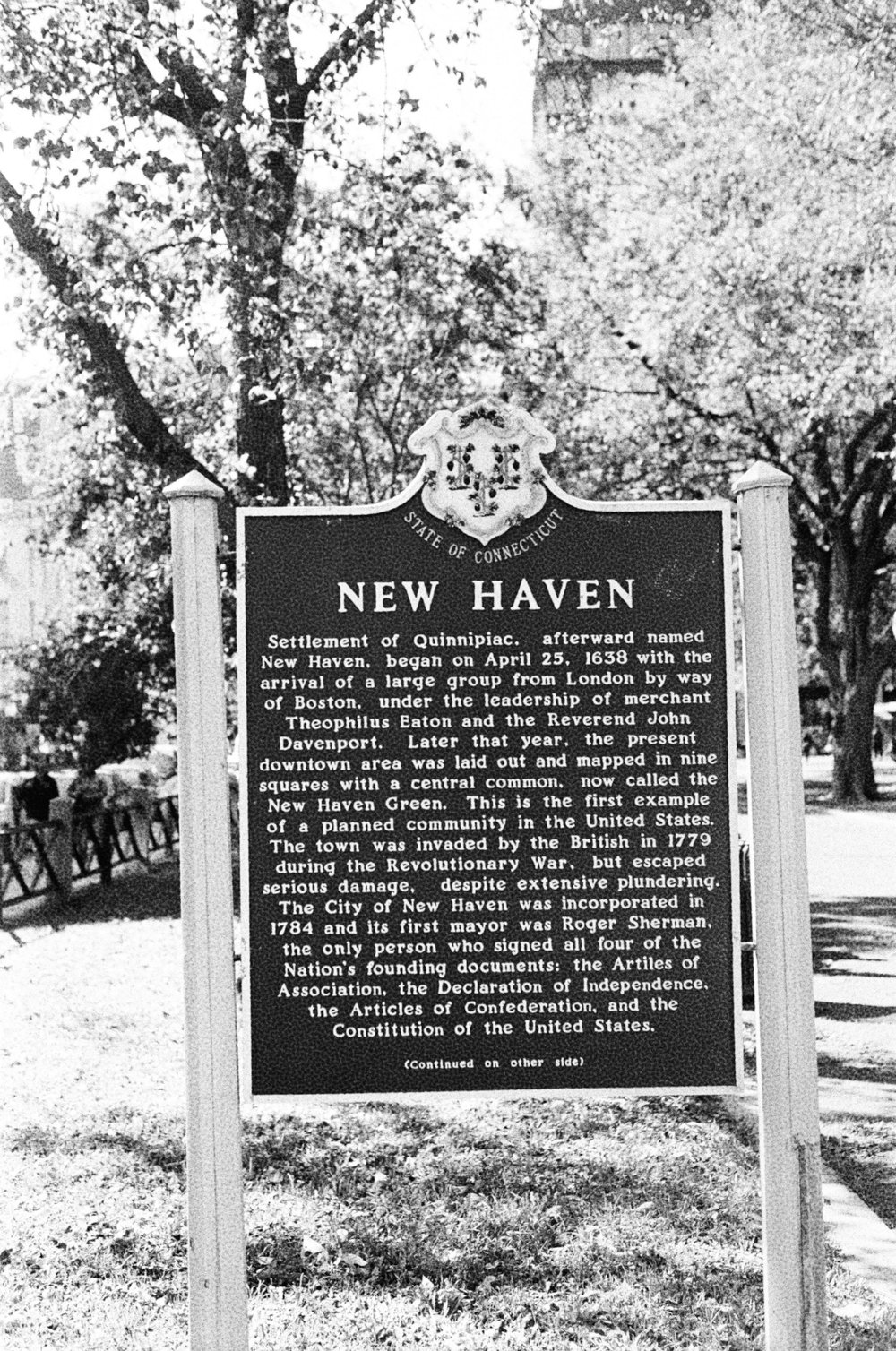 Above: New Haven city sign.
