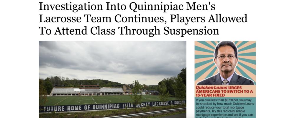 Headline of Hartford Courant Article | Quinnipiac Men's Lacrosse Team Suspended.