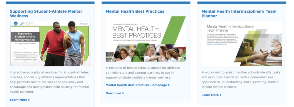 Screenshot of the NCAA website and some of the resources offered to NCAA athletes.