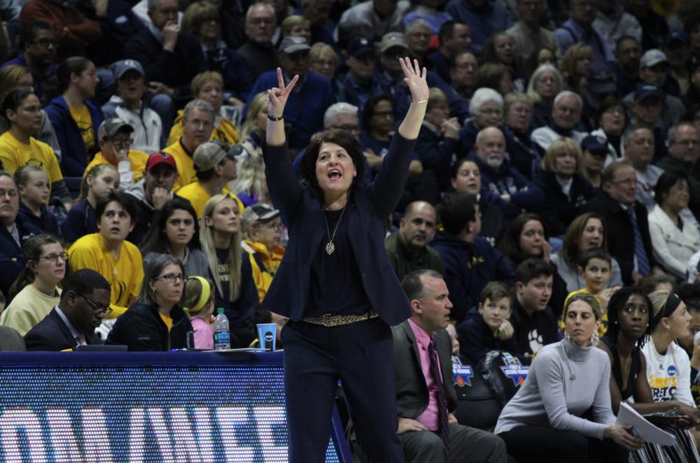 Tricia Fabbri on the sidelines of Quinnipiac women's basketball NCAA tournament game against UConn in 2018. Photo Courtesy: Liz Flynn/ Quinnipiac Bobcats Sports Network