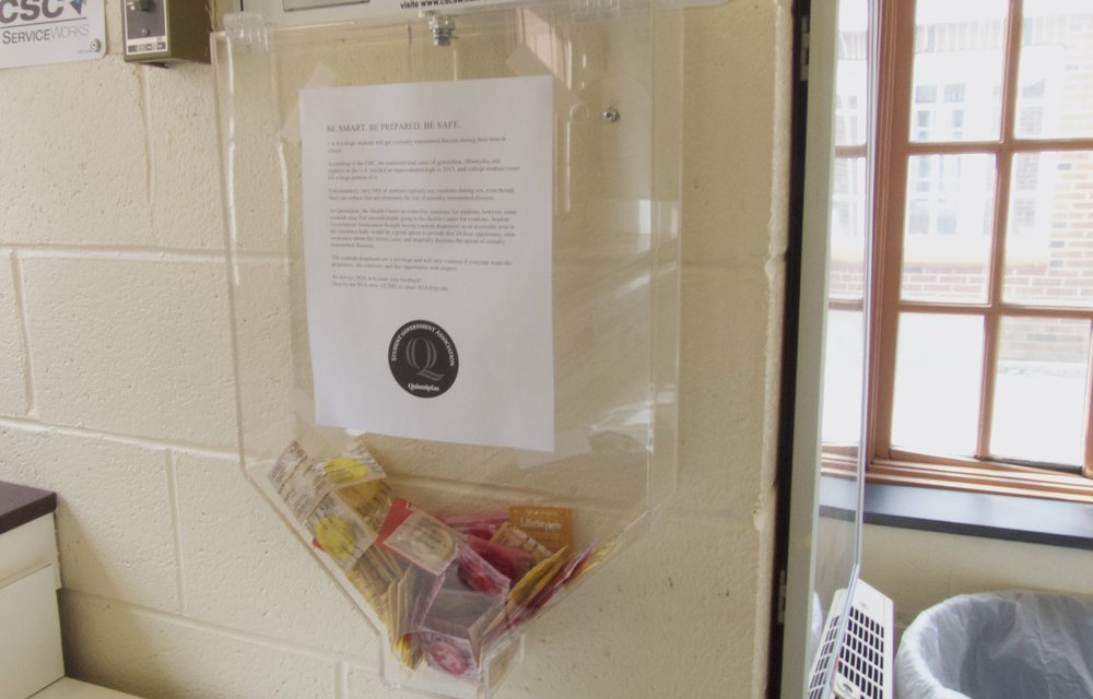 An example of the new condom dispensers that have been installed in Commons.