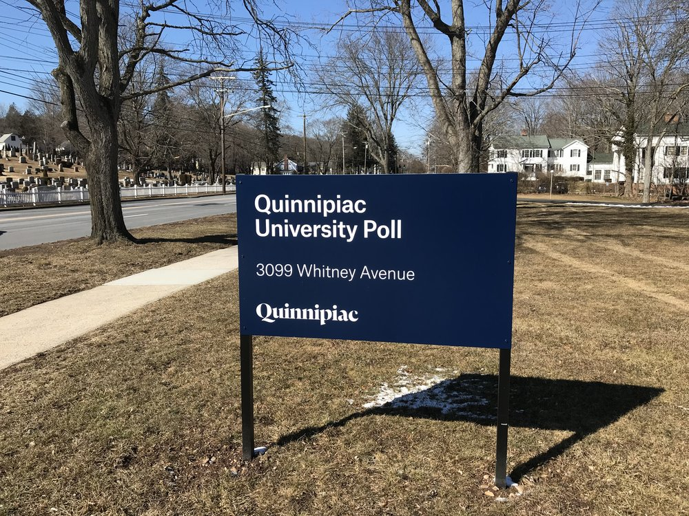 Quinnipiac University Poll sign at the Whitney Avenue location