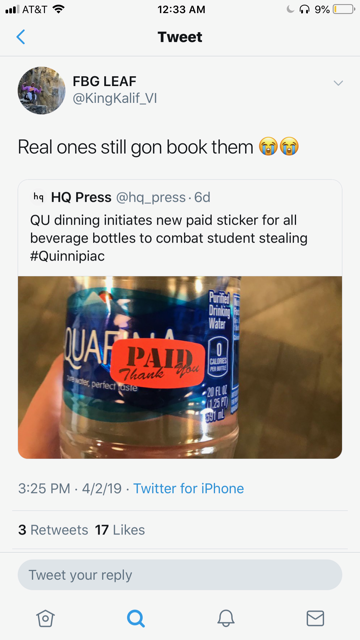 Student responds to the news of the orange paid stickers on Twitter.