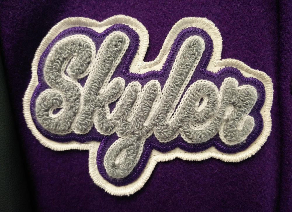 First Name - Customers pick from a variety of font samples. This patch is placed on the right chest.