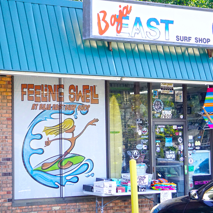 Baja East Surf Shop Window Graphic Illustration