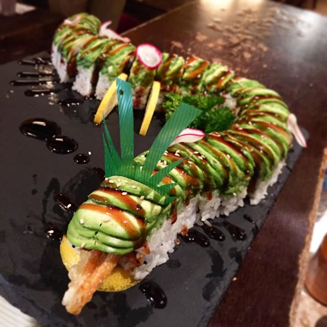 When two green dragons become one! #lochness #sushibarda #sushi #ygkfood #downtownkingston #sushiporn