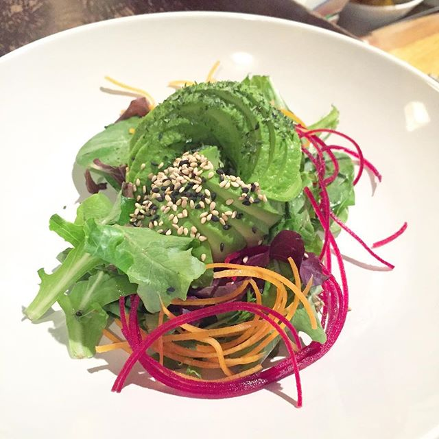 Sometimes our chefs get fancy with the avocado salads.  #sushiporn #sushibarda #foodgasm #ygk #ygkfood #kingston #fresh #avocadorose