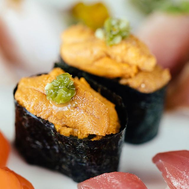 We're now offering Uni! Come in to try the rich and creamy Sea Urchin. #sushibarda #sushiporn #uni #ygk #ygkfood #downtownkingston #foodie