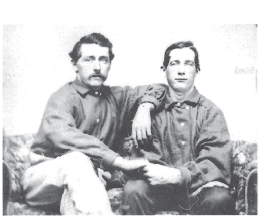 George Faulkner (right) with his father Cary (left), circa 1857.