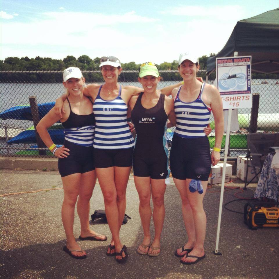 USRowing NE/Mid-Atlantic Masters Championships – Women's 4x: Angelique Hrycko, Meghan Brundage, Erin Lallemand (MRRA) and Kit Casey.