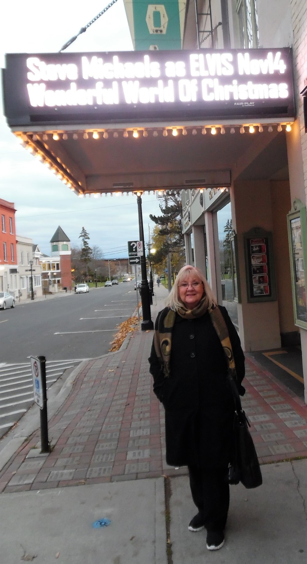 Outside the Capitol Theatre in Port Hope, ON, between concerts:    Return to Grace   in the afternoon,  and  Wonderful World of Christmas  in the evening. 2015