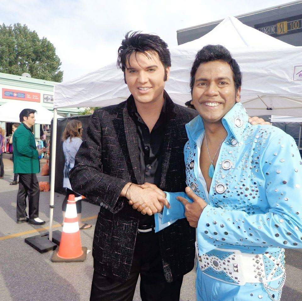 ETAs  Cody Ray Slaughter  (left) and  Lorensz Francke  (right) at the Collingwood Elvis Festival, 2017.  Submitted by  Lorensz Francke