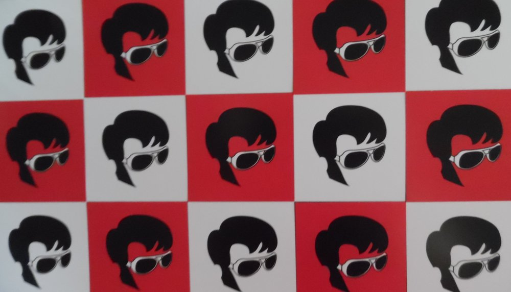Checkerboard of  SIDEBURNS  business cards .
