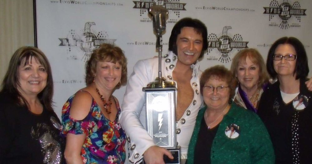 Tim with his friend Barb Mason (on his left), who is also president of the Tim E Hendry Fan Club.
