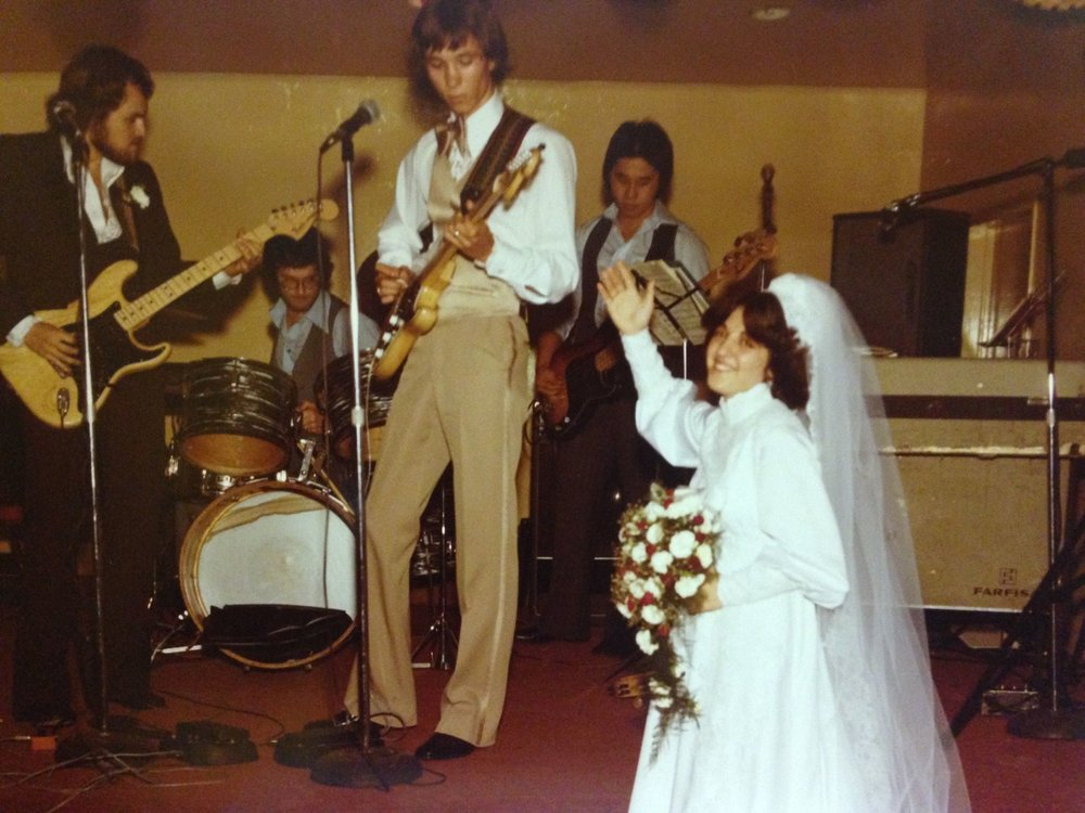 "Victor J Hanson with his band Winchester Quill. What a wedding party this was. From left to right: Victor J Hanson (with hair), Gary ""Houndmaster"" Nobel, Mike Rauch (also the groom), Barry Tsruda, Antonnietta ""Toni"" Rauch.  Photo from the Rauch collection."