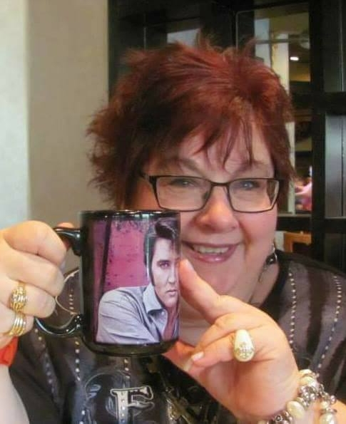 Wendy King  with her  Elvis  mug.  Photo provided by Wendy King.