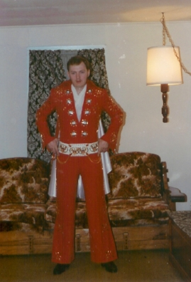 Butch Polston in one of his first four suits he sold.   Photo Credit:  Kim Polston.