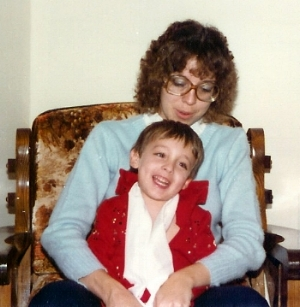 Kim Polston with son, Michael, in his first jumpsuit, 1980.   Photo Credit:  Butch Polston.