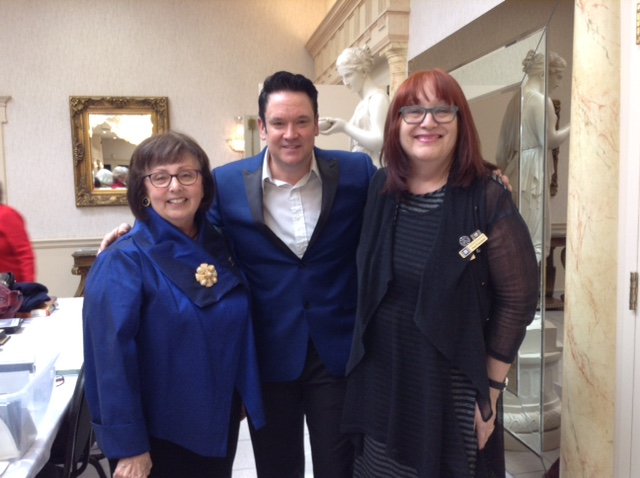 """ETA  Brad Boland  poses with Evelyn Martin, RWTO Haldimand Branch President, and Hope Leon, Past President , RWTO Hamilton-Wentworth Branch at Michelangelo's Banquet Centre after his performance at the """"Friendship Luncheon"""" on February 7th, 2018."""
