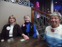 """Fans Judy, Bobbi, and Betty wearing their """"I Love Matt Cage"""" and """"Cagette"""" buttons.  Photo Credit: C.M."""
