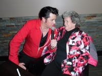 ETA  Matt Cage  serenades Lois Crowse at his show at Flamboro Downs on Friday, February 23rd, 2018.  Photo Credit: C.M.