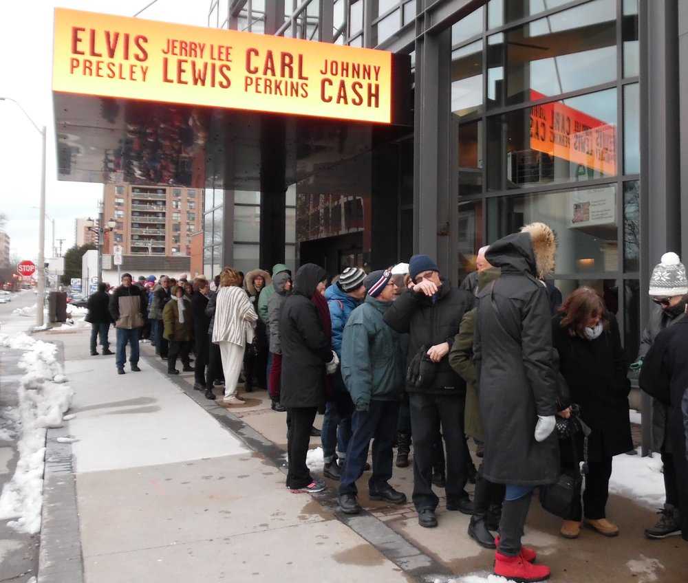 "Theatregoers lined up as early as 6 o'clock in the cold to get a ""Pay What You Can"" ticket for the 8 pm preview performance of  Million Dollar Quartet  at Theatre Aquarius in Hamilton, Ontario on Tuesday, April 17th, 2018."