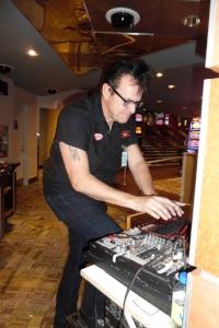 Multi-talented ETA Brent Freeman taking care of business at Mohawk Racetrack during ETA  Matt Cage 's show.  Photo Credit: C.M.