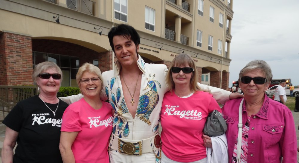 "Saturday, June 9th, 2018.  The ""Cagettes"", Bobbi, Linda, Judy, and Betty, pose with ETA  Matt Cage  after his Brantford show that was part of the celebration for the 10th Anniversary of Harmony Square.   Photo Credit:  Carolyn MacArthur"