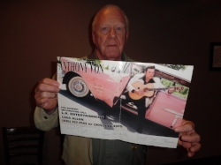 Pat Spring proudly displaying his poster of ETA  Anthony Von  in 1999.   Photo Credit:  Carolyn MacArthur.