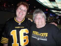 Cathy and Marian, both TiCat fans, were at a game before coming to Elements/Flamboro.   Photo Credit:  Carolyn MacArthur.