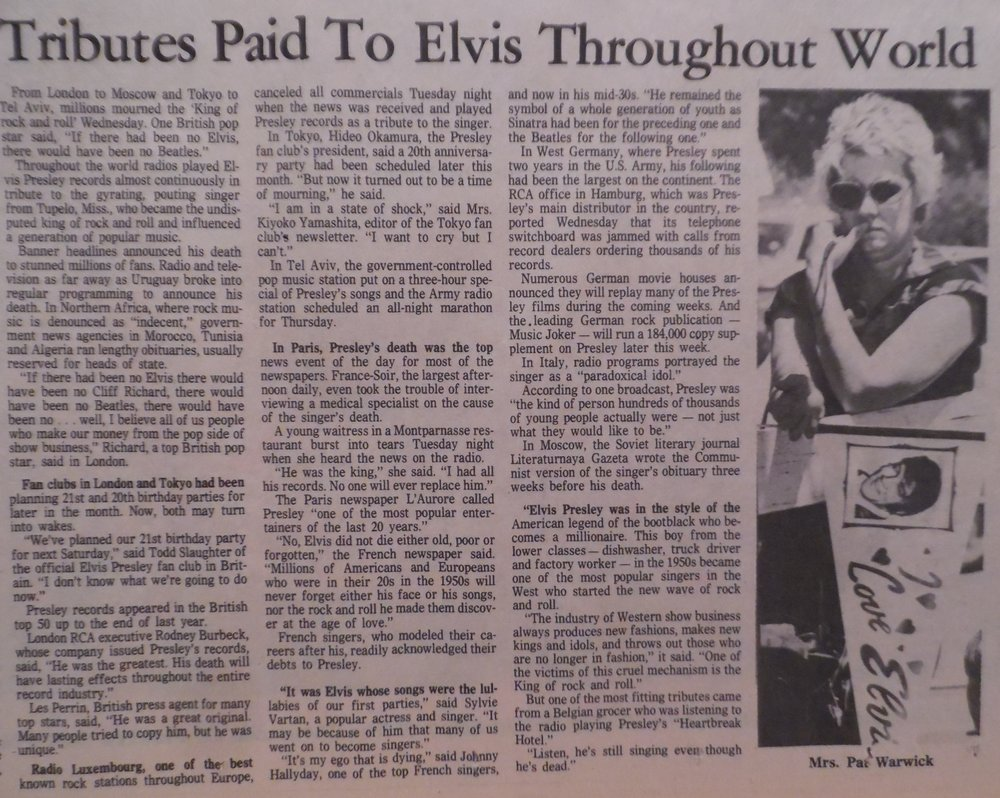An article from an original copy of the  The Commercial Appeal  newspaper, Memphis, Tennessee, Wednesday, August 17th, 1977.