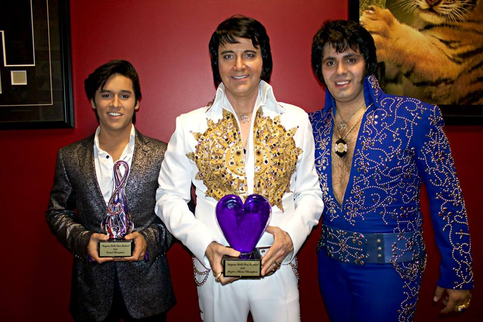 Niagara Falls Elvis Festival 2018 winners: Cote Deonath, 1st place, Sylvain Leduc 2nd place and People's Choice, and Bruno Nesci, 3rd place.  Photo, courtesy of the NFEF.