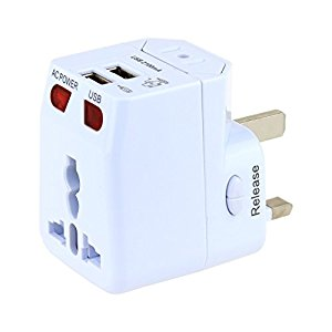 Universal Travel Adapter Wonplug World Travel Adapter Kit Dual USB Ports-UK,US,AU,Europe Plug Adapter-Over 150 Countries& USB Worldwide Power Adapter For Iphone ,Android,All USB Device ( White )