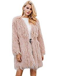 Simplee Apparel Women's Winter Warm Fluffy Long Faux Fur Coat Jacket Outwear