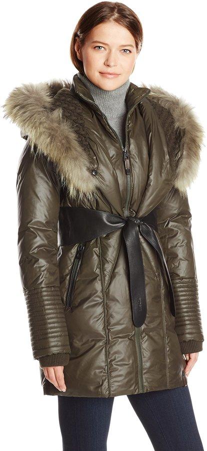 Rudsak womens Sophie Down Coat With Leather Belt