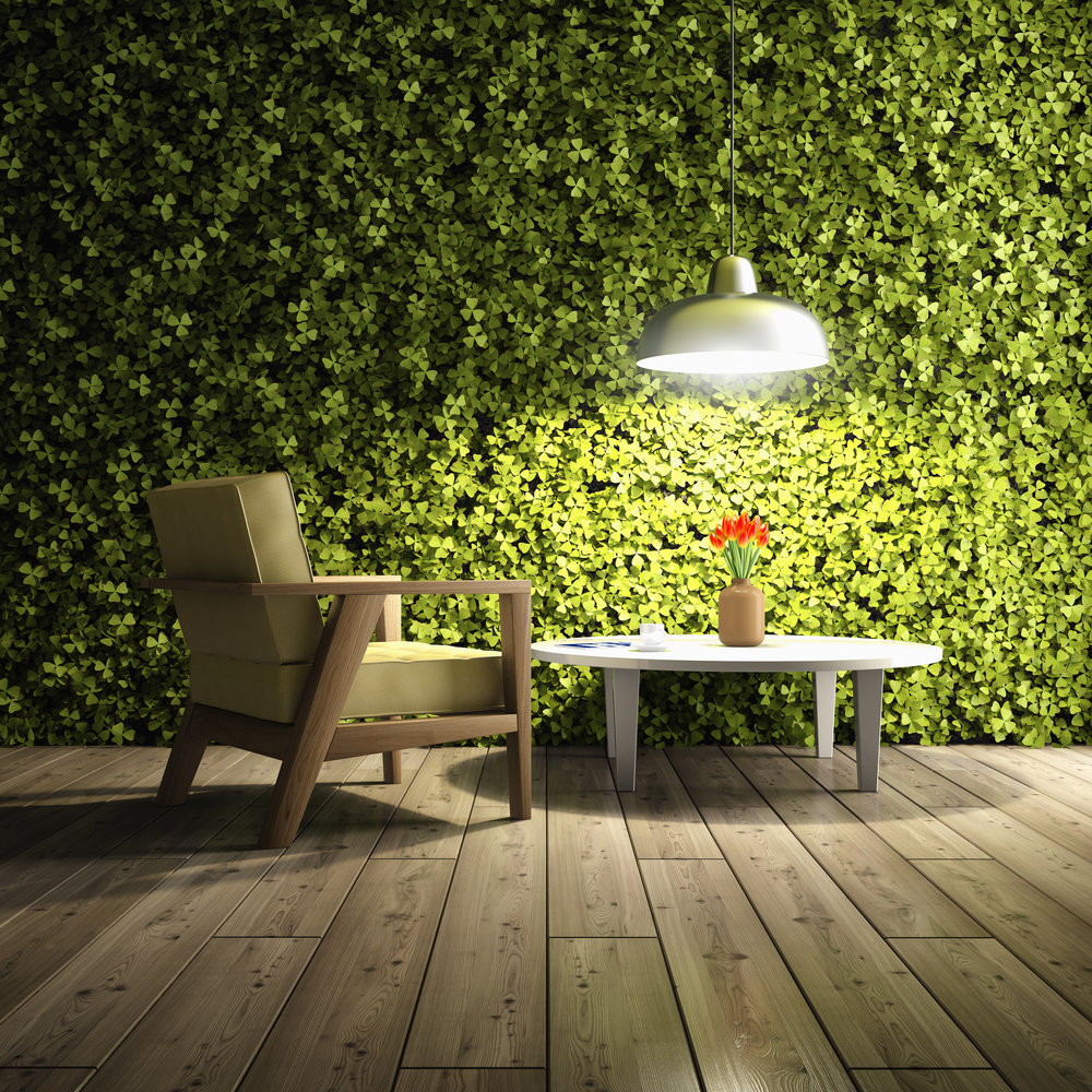 Botanical Design on Earth, featuring genetically-modified plants on an office wall. Photo by FreshPaint.