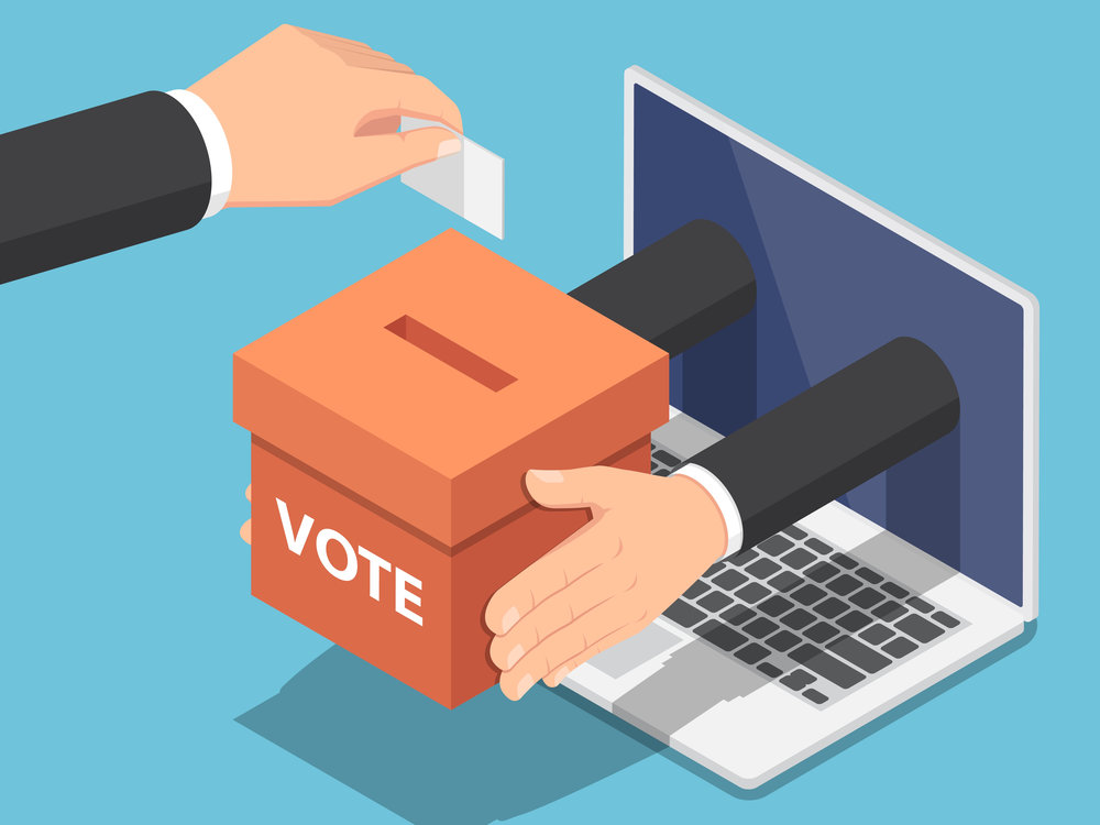 Digital Voting opened the door for sophisticated voter manipulation efforts by large corporations. Vector by Jiw Ingka.